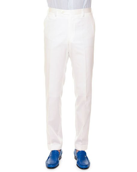 Stefano Ricci Flat-Front Wool Sport Trousers, White