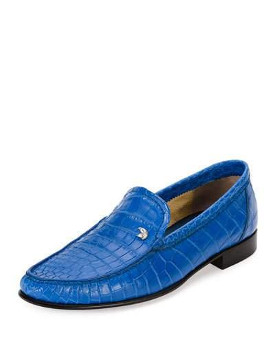 Stefano Ricci Classic Crocodile Leather Loafer, Blue