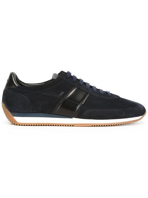 Tom Ford Colorblock Leather-Suede Runner Sneaker, Black, Black