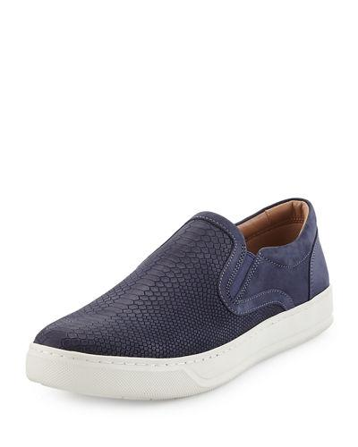 Vince Ace Embossed Leather Slip-On Sneaker In Navy