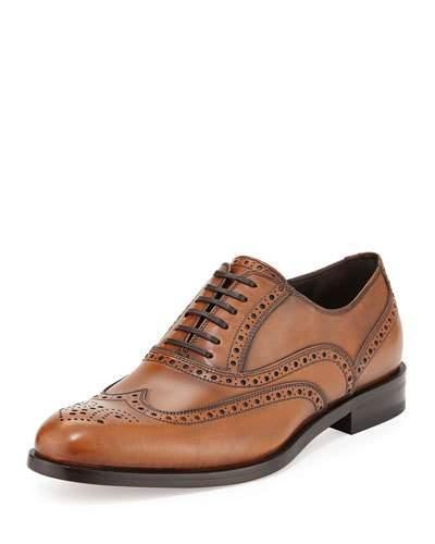 Salvatore Ferragamo Men's Calfskin Wing-Tip Lace-Up Oxford, Light Brown