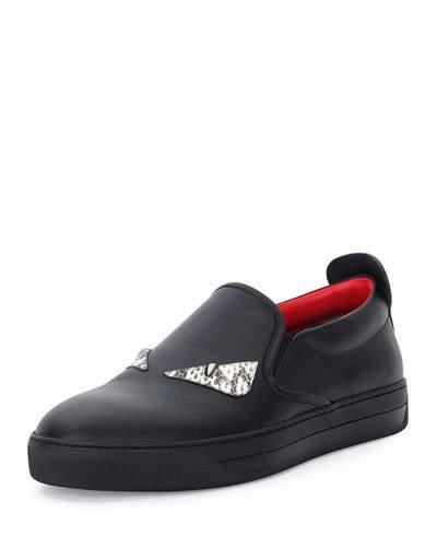 Fendi Bag Bugs Slip-On Sneakers In Nero + Naturale
