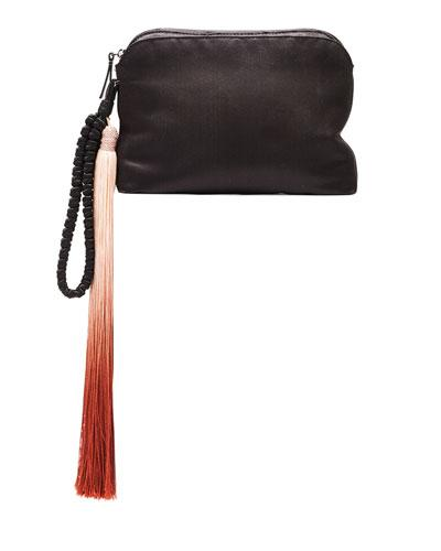 The Row Satin Tassel Detail Wristlet, Black/Paprika