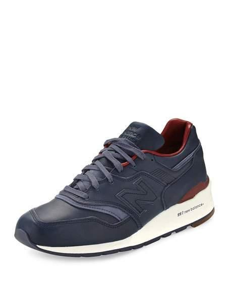 New Balance Men's 997 Bespoke Leather Sneaker, Blue/Brown