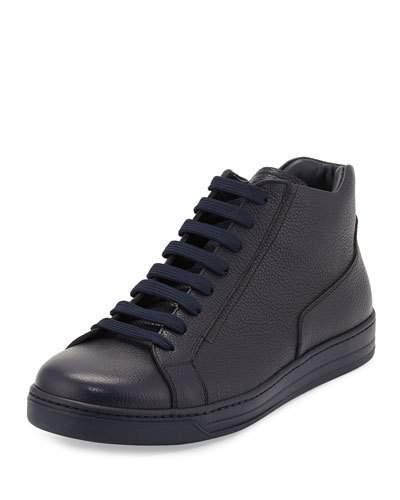 Prada Men's Leather Zip-Side High-Top Sneakers, Blue