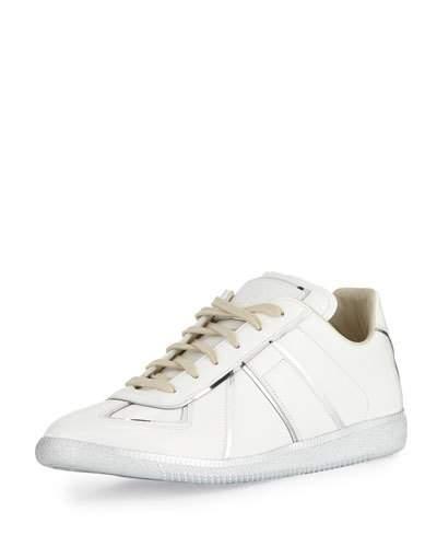 Maison Margiela Men's Replica Metal-Trim Low-Top Sneakers In White/Silver