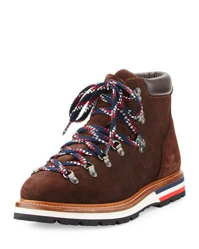 Moncler Men's Fashion Leather Mountain Boot, Brown