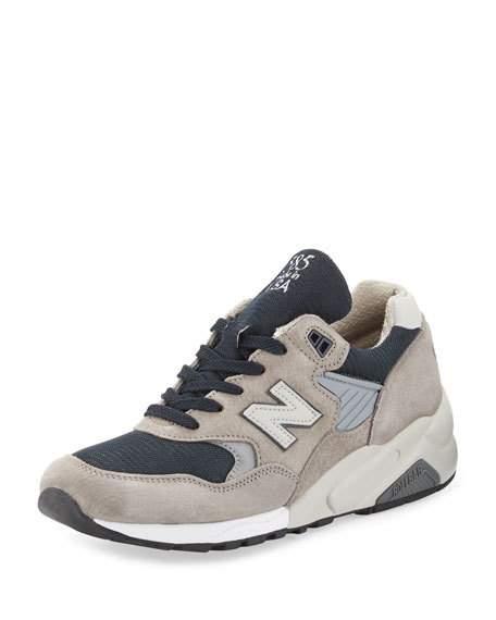 New Balance Men's 585 Bringback Suede-Mesh Sneaker, Gray/Navy, Grey/Navy