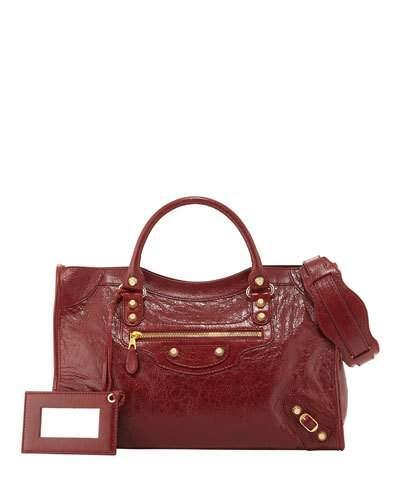 Balenciaga Giant 12 Golden City Lambskin Tote Bag, Red