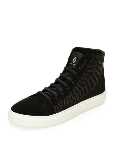 Marcelo Burlon County Of Milan Maipu Textured High-Top Sneaker, Black/White