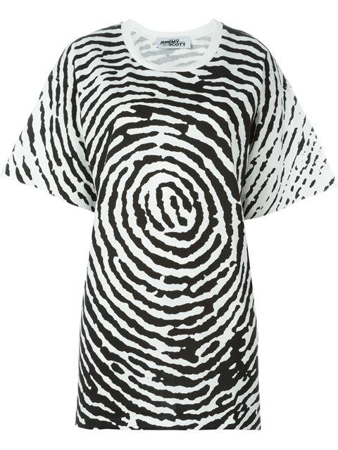 Jeremy Scott Oversized Fingerprint T-Shirt In 3001C