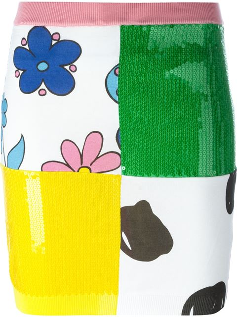 Jeremy Scott Multi Print Sequined Fitted Skirt In Green