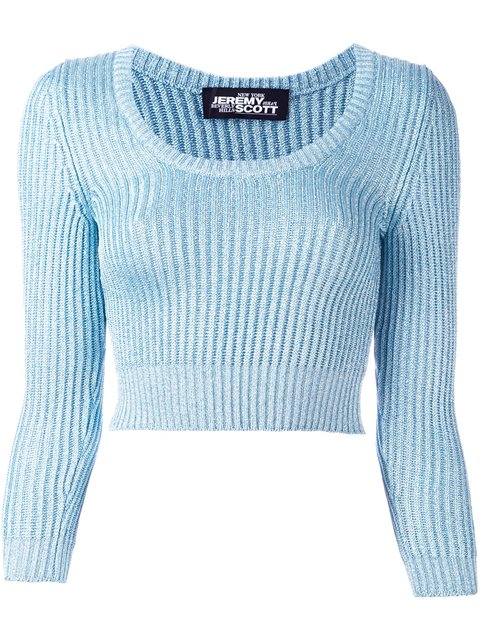 Jeremy Scott Cable Knit Cropped Jumper In Sky Blue