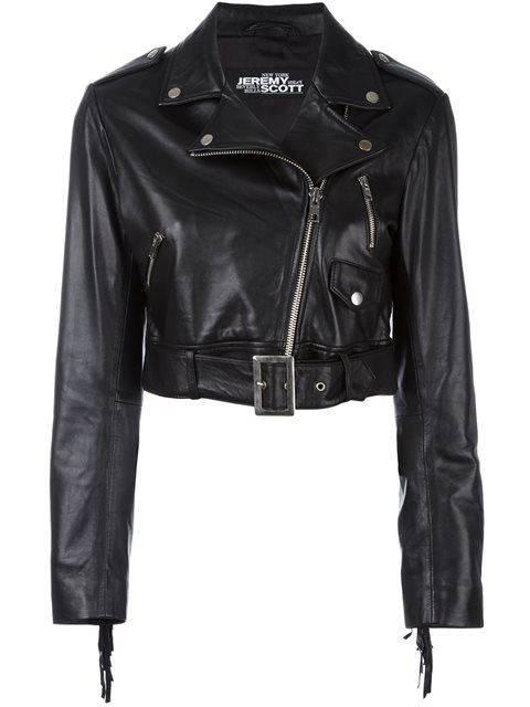 Jeremy Scott Cropped Biker Jacket - Black