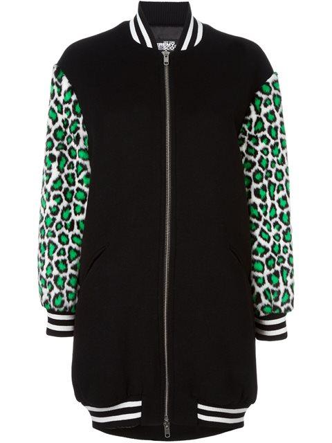 Jeremy Scott Leopard Sleeves Bomber Jacket In Nero