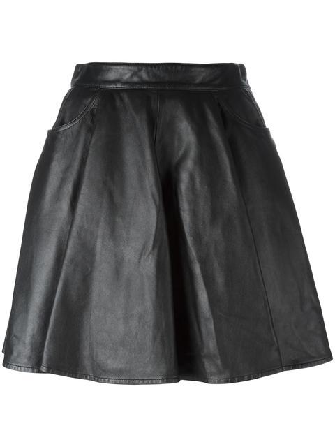 Jeremy Scott Leather Skirt In Black