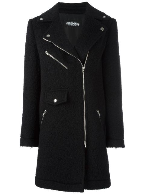 Jeremy Scott Off-Centre Zipped Coat - Black