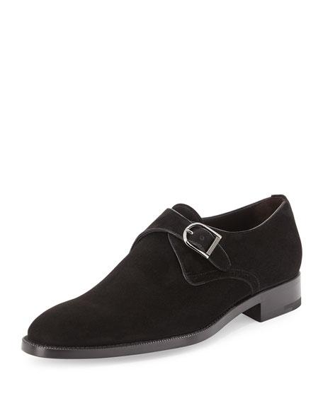 Ermenegildo Zegna Monk-Strap Suede Shoe, Black