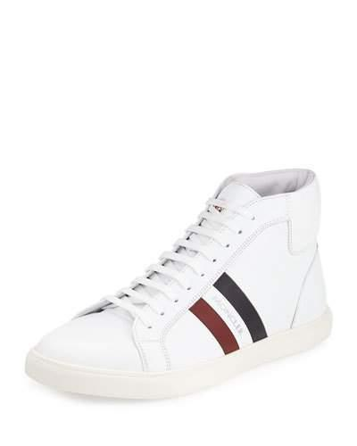 Moncler Monte Carlo Striped Leather High-Top Sneaker, White
