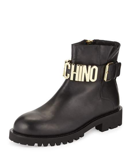 Moschino Leather Combat Boot W/Logo Lettering In Black