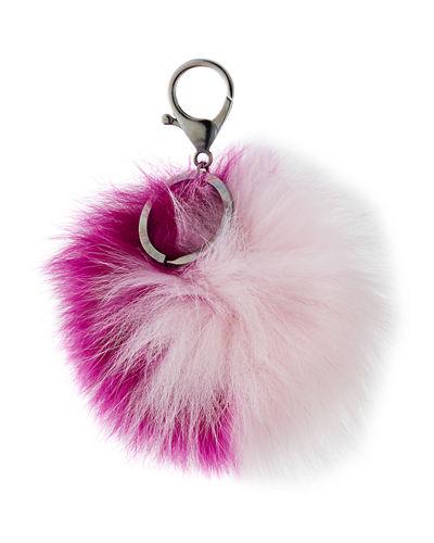 Two-Tone Fox Fur Pompom, Fuchsia/Light Pink, Fuchsia/Lt Pink In Light Purple/Pink