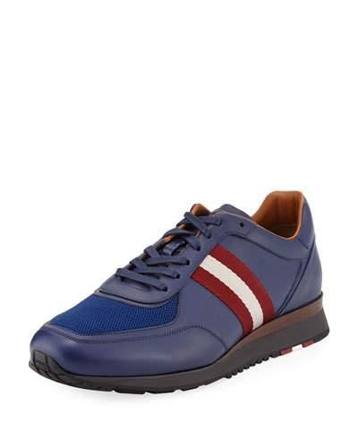 Bally Men's Leather Trainer Sneakers W/Trainspotting Stripe, Marine Blue