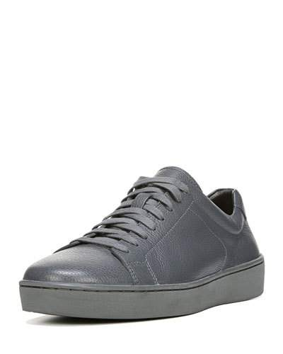 Vince Slater Leather Low-Top Sneaker, Gray