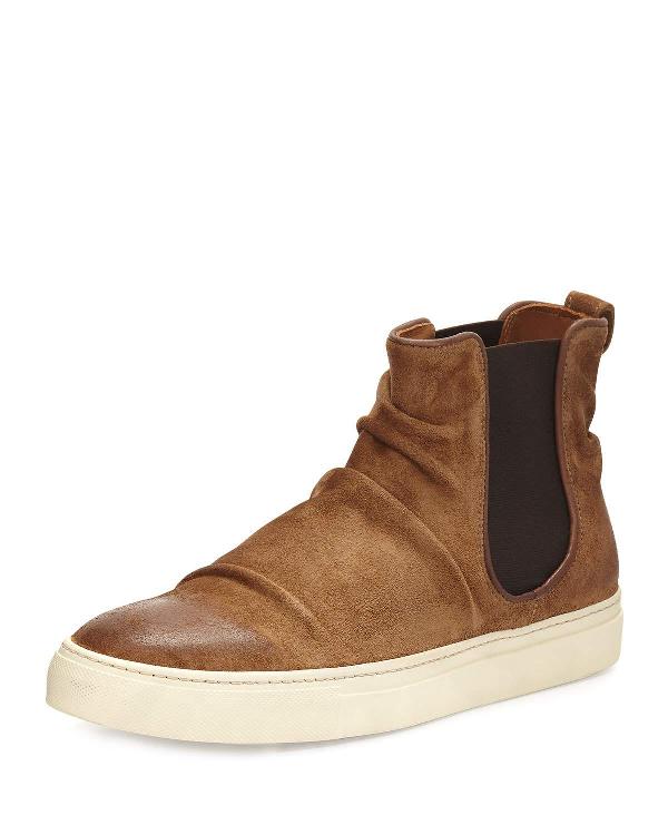 John Varvatos Reed Sharpei Leather Chelsea High-Top Sneaker, Dark Brown, Brown