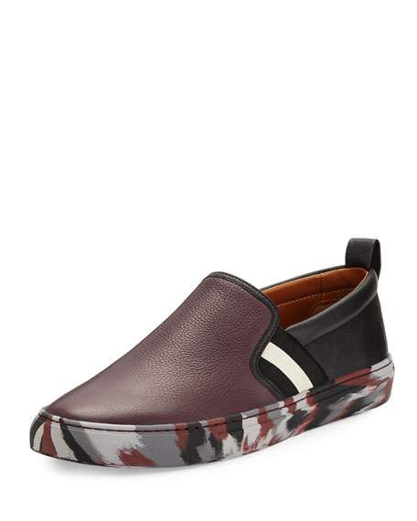 Bally Herald Leather Slip-On Sneaker With Camo Sole, Red