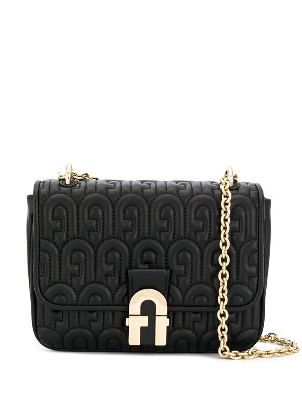 Furla Logo Shoulder Bag In Black