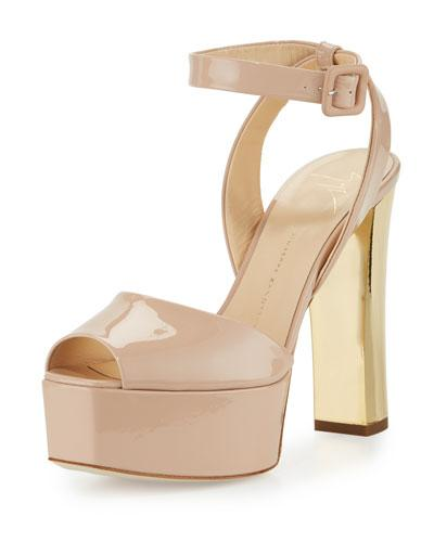 Giuseppe Zanotti Lavinia Patent Platform Sandals, Blush