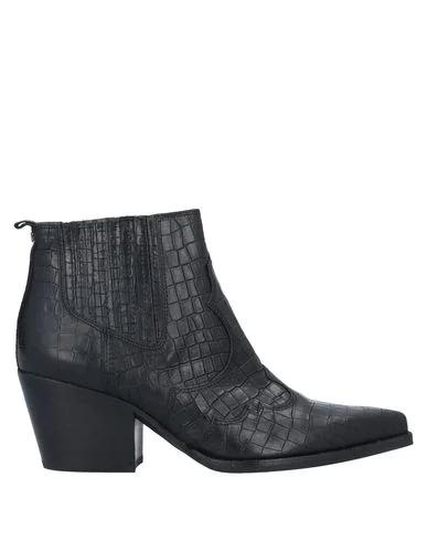 Sam Edelman Crodcodile Print Texan Ankle Boots In Black