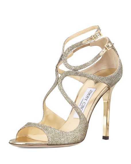 Jimmy Choo Lang Glittered Strappy Sandal, Light Bronze