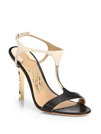 Salvatore Ferragamo Monroe Snake-Embossed Leather T-Strap Sandals In Black