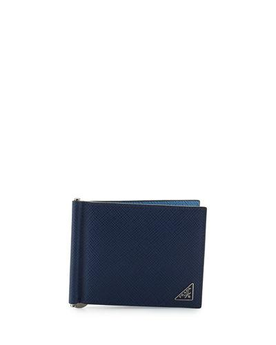 Prada Saffiano Leather Money-Clip Wallet In Navy/Lt. Blue