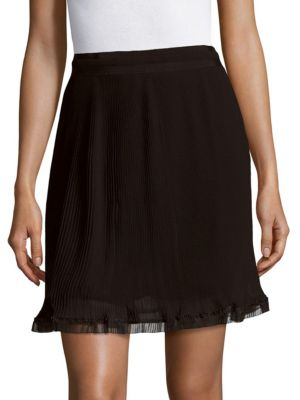 Carven Solid Ruffled Skirt In Black