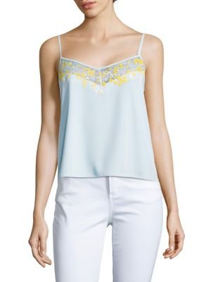 Carven Embroidered Slip-Top In Baby Blue