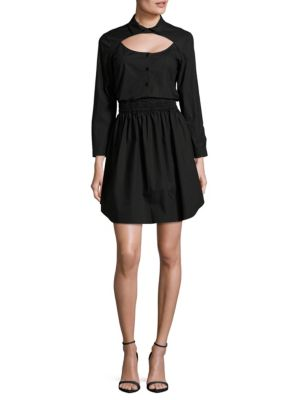 Carven Solid Cotton Shirtdress In Black