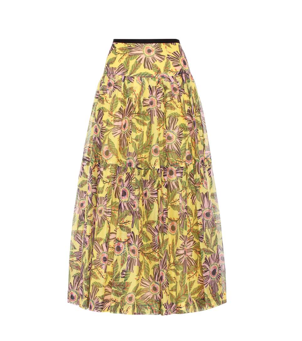 Red Valentino Passion Flower-Print Pleated Midi Skirt, Multi Pattern In Multicoloured