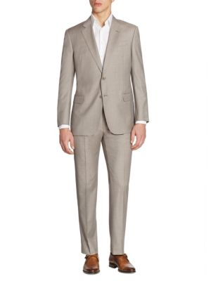 Giorgio Armani Regular-Fit Sharkskin Wool Suit In Cement