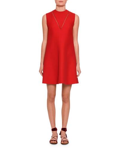 Valentino V-Detail Sleeveless A-Line Dress, Black
