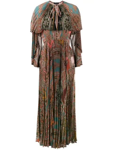 Etro Long-Sleeve Printed PlissÉ Silk Gown With Capelet, Red In Multicolour