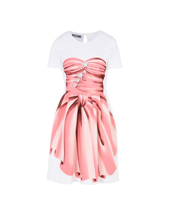 Moschino Short Sleeve Dress In White