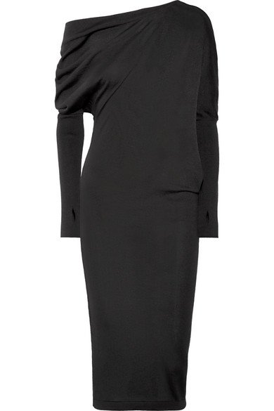 Tom Ford One-Shoulder Cashmere And Silk-Blend Dress In Black