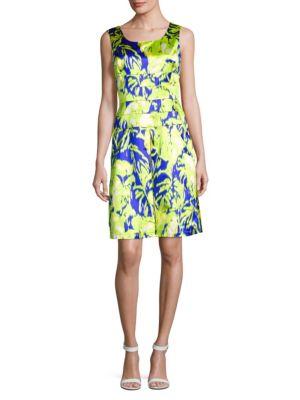 Oscar De La Renta Printed Silk-Blend Dress In Chartreuse