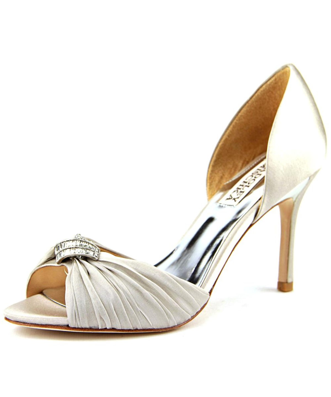 Badgley Mischka Jennifer   Open-Toe Canvas  Heels In Grey