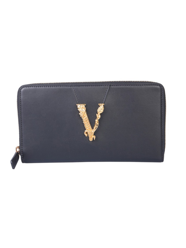 Versace Virtus Black Leather Wallet