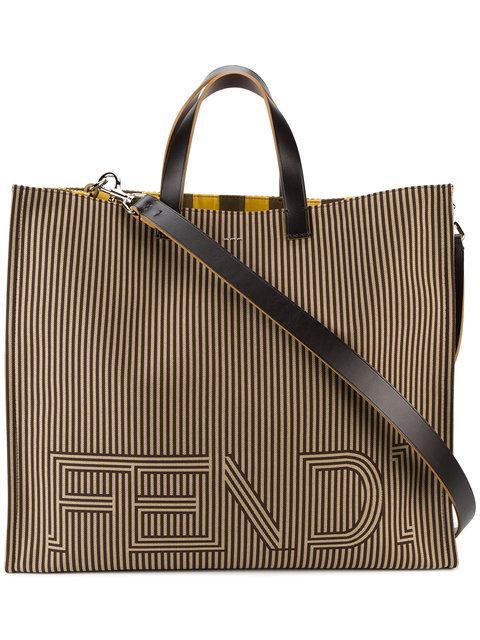 Fendi Large Logo Tote Bag - Brown