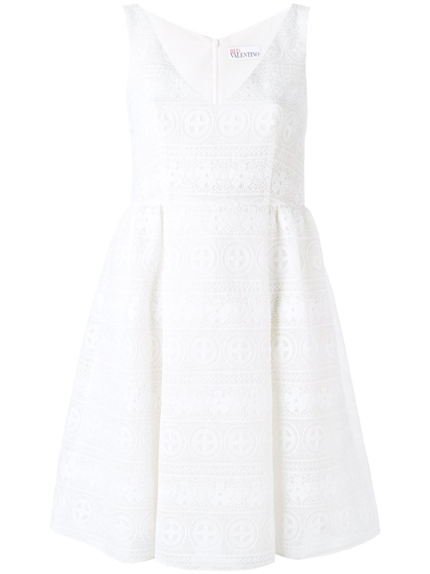 Red Valentino Short White Macrame Dress