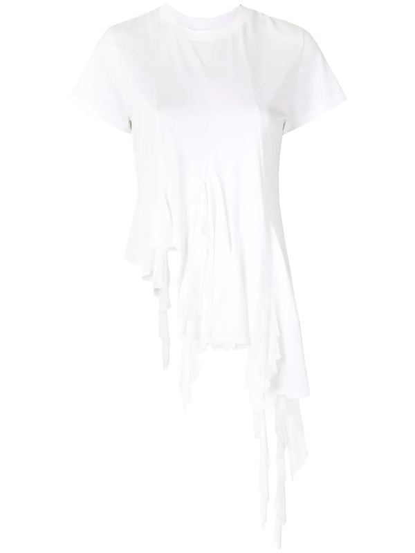 Marques' Almeida Peplum-hem Ruched Recycled-cotton Blend T-shirt In White